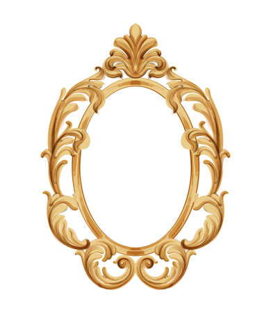 Louis XVI style mirror with golden neoclassic ornaments. Vector Ilustração