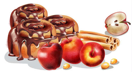 Cinnamon rolls with chocolate glaze and winter ornaments. Half apple, cinnamon sticks, orange slices, yellow. Winter food Vector