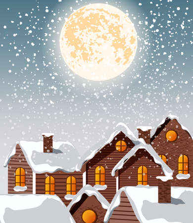 Village city covered in blizzard snow falling from top. Bright moon in the sky. Winter vector
