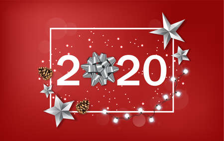 New Year 2020 banner with shining silver stars and ribbon. White fairy light and red background. Vector