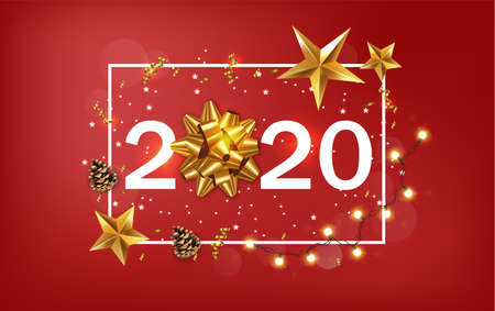New Year 2020 banner with golden stars and ribbon. Warm light fairy lights and red background. Vector Ilustracja