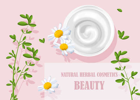 Natural herbal cosmetics cream with chamomile flowers decorations