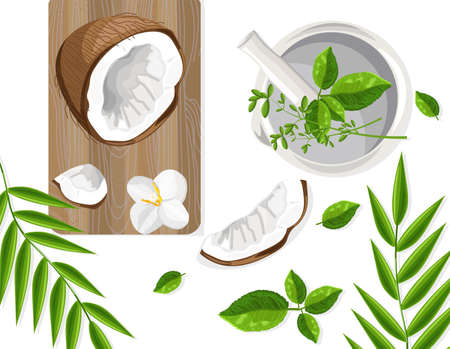 Coconut and mint leaves on wooden cutting board