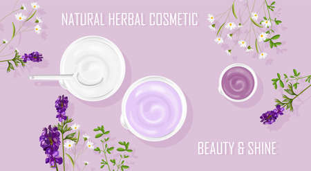 Natural herbal cosmetic cream products Imagens - 134807819