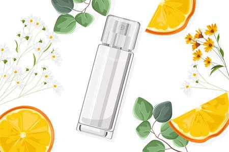 Shiny perfume spray bottle with flowers and fruits Ilustracja