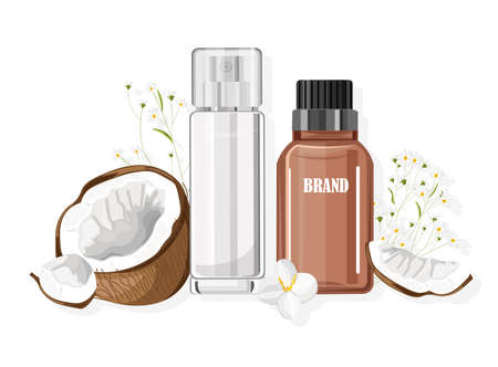 Natural Coconut cosmetic products Illustration