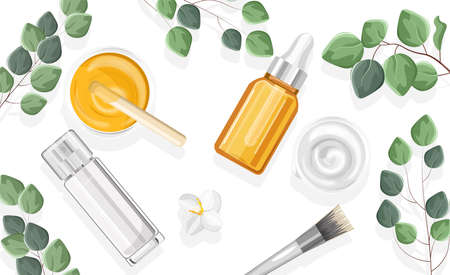 Natural cosmetic products spray bottles Illustration