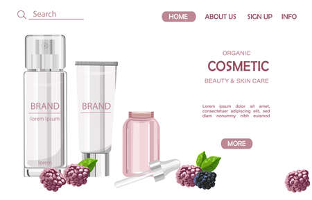 Organic cosmetic products site template Imagens - 134808498