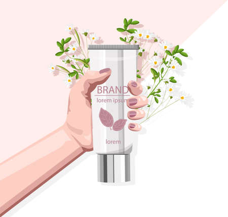 Organic cosmetic products site template Imagens - 134808499