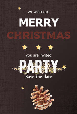 Merry christmas party invitation with conifer cone decoration