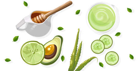 Organic avocado treatment with spray bottles and tubes Ilustracja