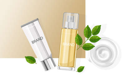 Cosmetic products spray bottles with place for brand Illusztráció