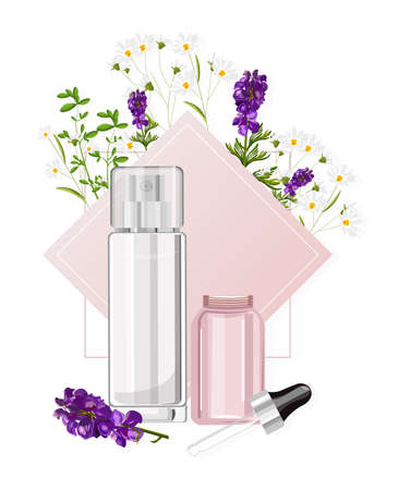 Cosmetic products spray bottles with place for brand Ilustracja