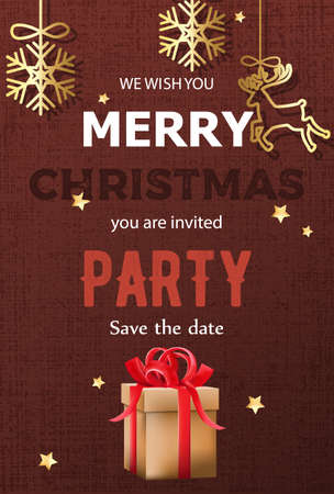 Merry christmas party invitation with gift boxes and hanging decorations