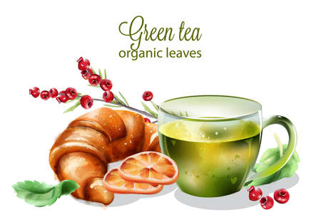 Organic green tea made from leaves