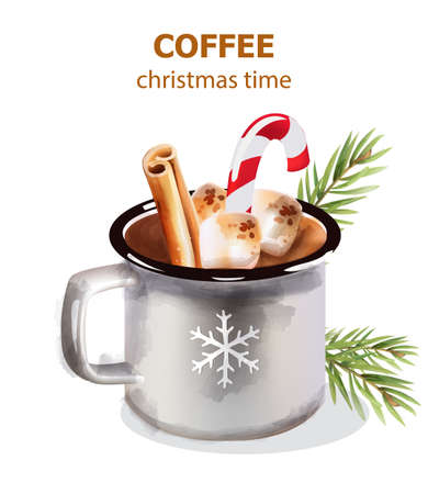 Christmas time coffee cup with candy and holiday decorations