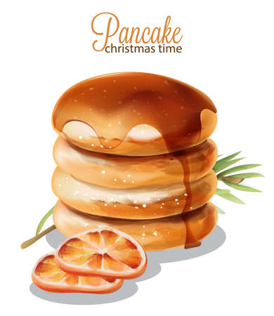 Pancakes dripping with syrup.