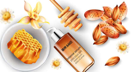 Intense serum bottle with almond and honey decorations Imagens - 134808570