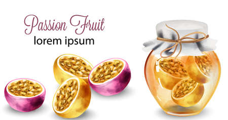 Passion Fruit sliced and in honey jar