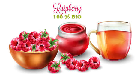 Raspberry tea and jam in watercolor style