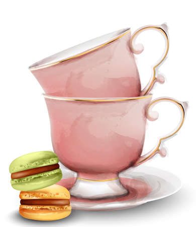 Pink watercolor tea cups with macaroon sweets