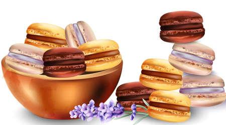 Französische Makronenbonbons im Behälter. Lavendelblütendekorationen. Aquarell-Vektor Vektorgrafik