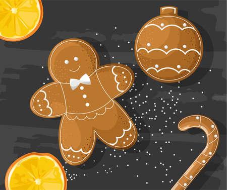 Gingerbread cookies on dark background. Orange slices. Vector Standard-Bild - 134857539