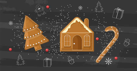 Gingerbread cookies on dark background. Line art style icons. Orange slices. Vector Ilustração