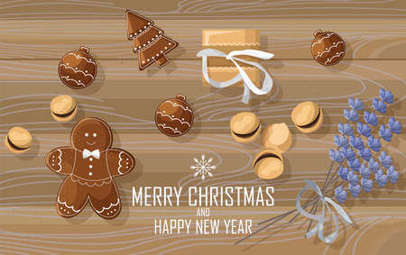 Christmas sweets composition with gingerbread cookies, lavender flowers decorations. Wooden background. Top view Holiday vector