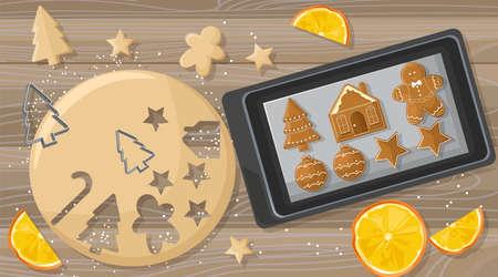 Weihnachtstisch mit Lebkuchenteig und Metallformen. Orangenscheiben-Dekorationen. Hölzerner Hintergrund. Feiertagsvektor Vektorgrafik
