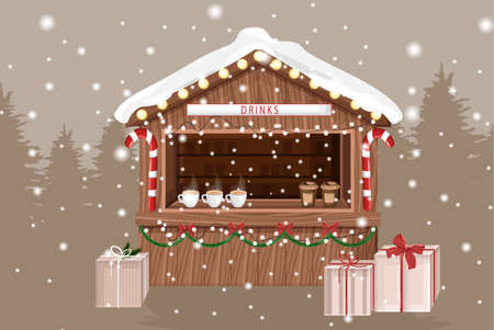 Christmas fair market stand with hot drinks for sale. Coffee in cups. Gifts decorations. Holiday Vector