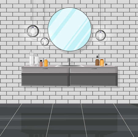 Modern bathroom with sink, mirror and various cosmetic products