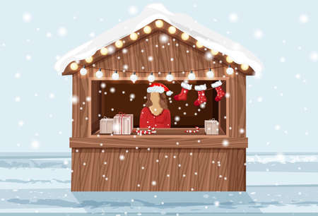 Christmas market stand with woman in hat selling holiday products. Gifts, lollipops and stockings. Vector