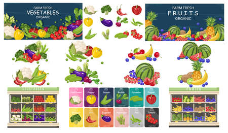 Supermarket fruits and vegetables store set bundle Vector flat style. Shopping food products. Sales template banner Foto de archivo - 135432405