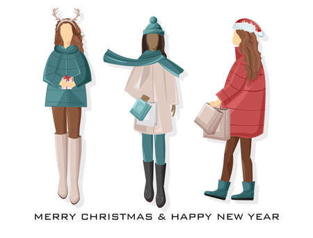 Set of Girls dressed in winter holidays outfit. Holding gift boxes and shopping bags. Pale Red and blue predominant colors. Vector