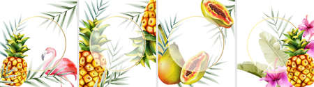 Big set of tropical invitation cards with flamingo, pineapple, papaya fruits and leaves. Place for text