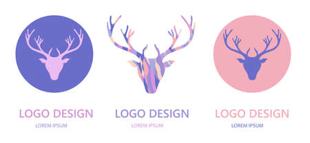 Logo design template with reindeer head and antlers.