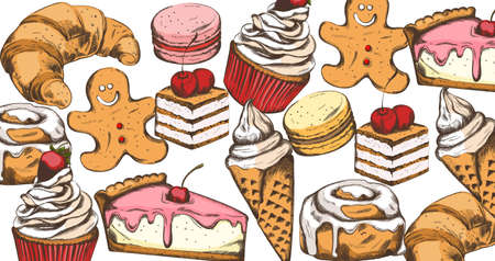 Line art colorful pastry composition 일러스트