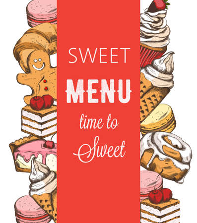 Bakery house shop menu template with various sweets