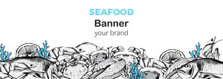 Seafood banner composition with red fish steak, oysters and crabs. 向量圖像