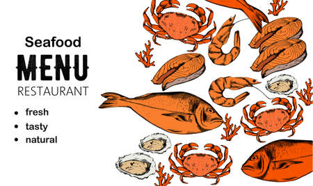 Seafood menu composition with red fish steak, oysters and crabs 向量圖像