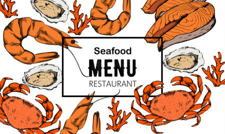 Seafood menu composition with red fish steak, oysters and crabs.