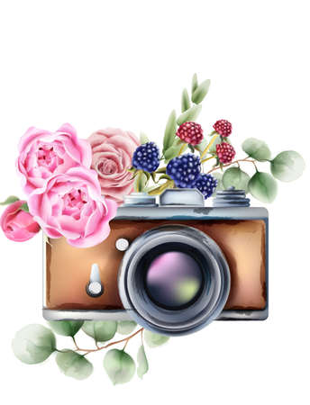 Retro style camera with rose flowers and berries ornaments.