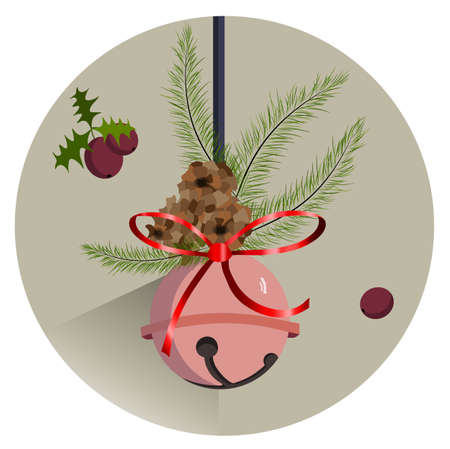Winter composition with rose bauble hanging, fir tree leaves and fruit. Pine cone. Vector