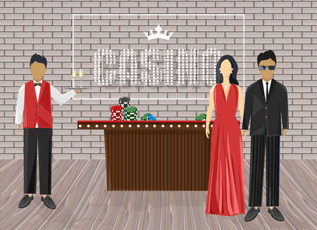 Waiters inviting people in the casino. Luxury clothes. Chips on red table. Bricks on background. Vector Illustration