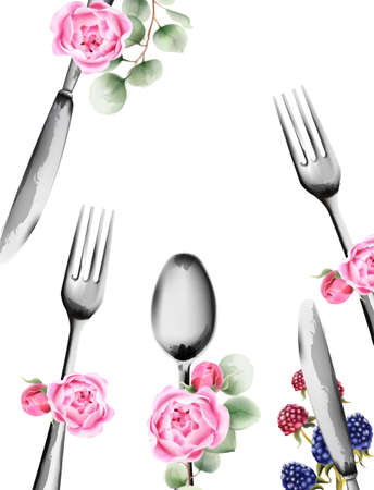 Food utensils with rose flowers ornaments