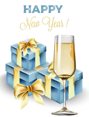 Happy New Year composition with glass of champagne and blue gift boxes.