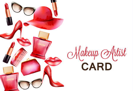 Fashion red products including comb, glasses, lipstick, perfume, pouch and high heels. Makeup artist card. Watercolor vector