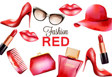 Fashion red products including comb, glasses, lipstick, perfume, pouch and high heels. Watercolor vector Stock Illustratie