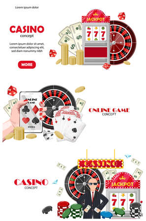 Casino set of site template concepts. Online game on mobile phone, rich people. Playing cards, slot machine, dices, chips. Vector